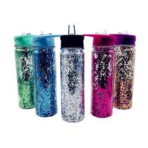 Water Bottle Double Wall 750ml Plastic Glitter Bomb Sequins Straw Outdoo... - $365,59 MXN
