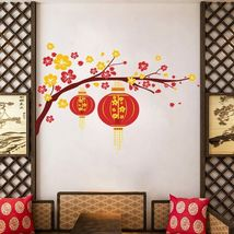 ZOOYOO® Festive Chinese New Year Red Lantern Peach Flowers Pvc Wall Art Decals image 3