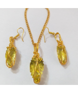 Natural Lemon Quartz Laser cut Pendant and Earrings | Wire Wrapped Jewelry - $110.70