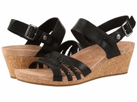 New UGG Serinda Women's Leather Wedge Sandal in Black, Size 7.5 - $87.11