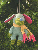 PLUSH KNIT GREEN BLUE & PINK SOCK DOG WEARING SCARF CHRISTMAS TREE ORNAMENT - $12.88