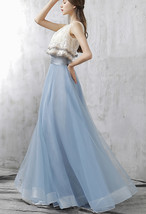 Dusty Blue Floor Length Tulle Skirt High Waisted Dusty Blue Bridesmaid Outfit image 2