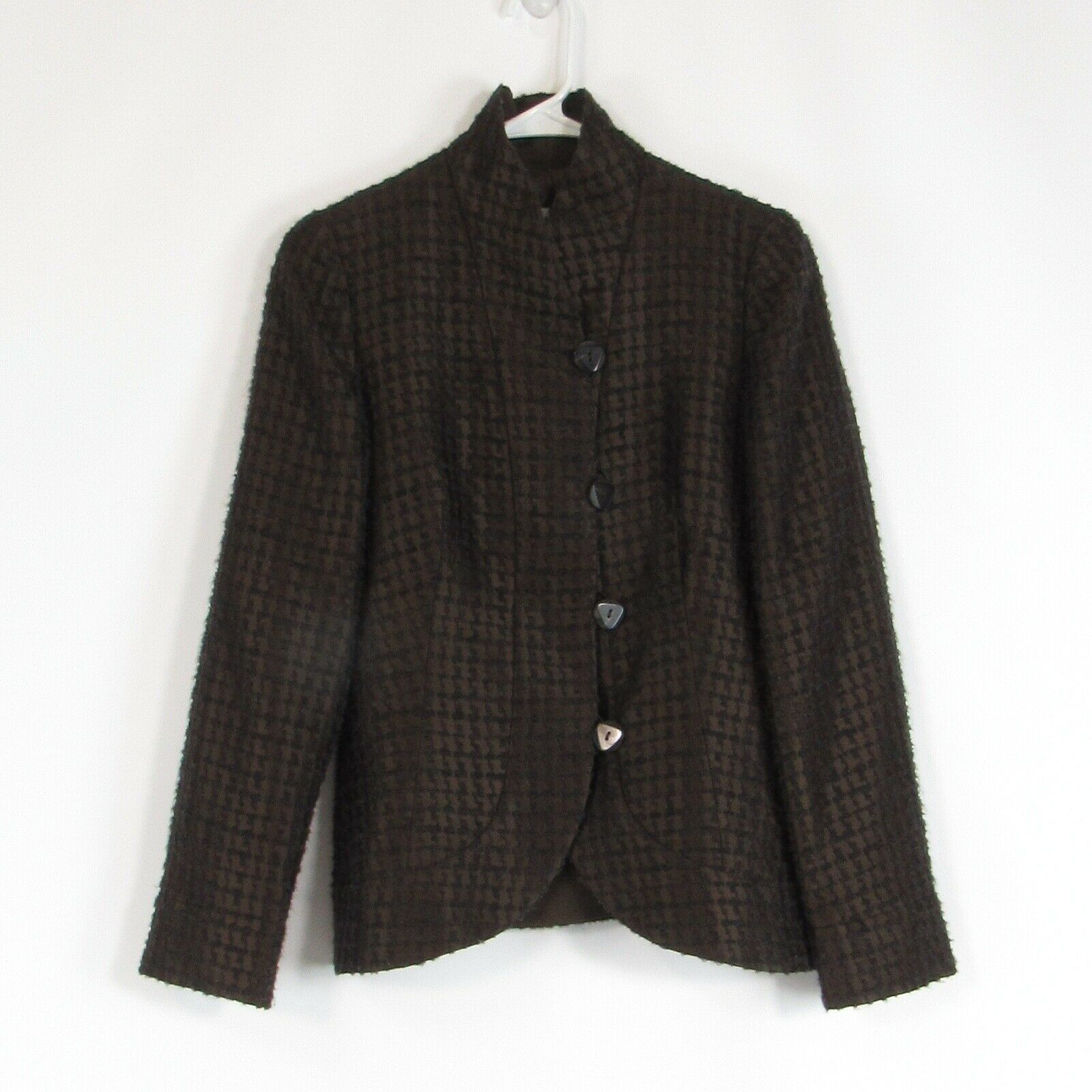 Primary image for Brown textured ARMANI COLLEZIONI long sleeve blazer jacket 4