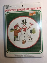 """New Berlin Co Counted Cross Stitch Kit Snowman 7"""" with Hoop New Sealed #... - $10.36"""