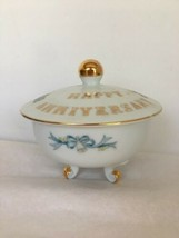 Lefton China Sugar Bowl  Anniversary Footed Gold Trim Decal Bells Floral 6290 HP - $11.85