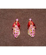 HOBE GOLD TONE With RUBY RED & PINK CRYSTAL STONE CLIP ON EARRINGS SIGNE... - $44.99