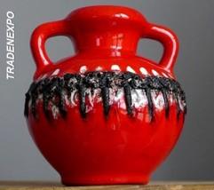 RETRO Vintage 60-70''s SCHLOSSBERG 74-15 Red Vase West German Pottery Fa... - $24.74