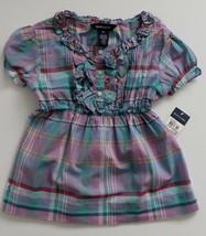 Ralph Lauren Girls Blouse Shirt Top Plaid Teal  Purple Pink Short Sleeve... - $21.99