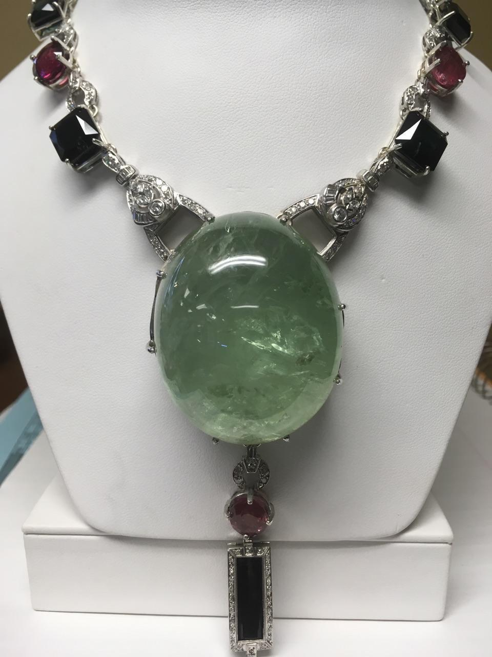 New AIGS Certified Huge 379 ct green beryl &Tourmaline diamond Platinum necklace
