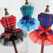 Plaid Print Dog Dress Pet Puppy Princess Summer Soft Cotton Bow Skirt Cl... - $12.46+