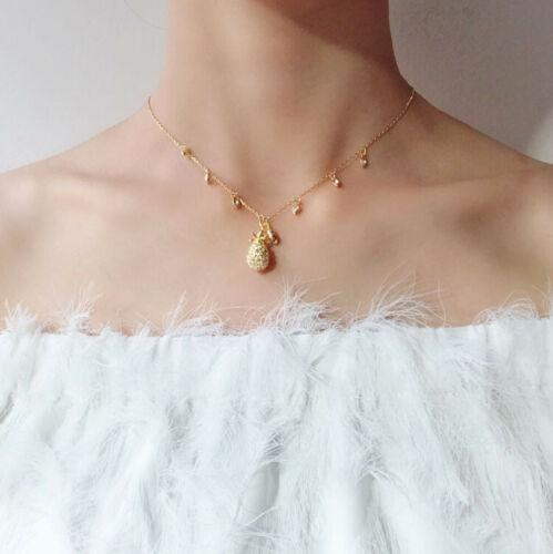 Swarovski golden cute pineapple  fashion Necklace gift