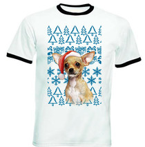 Chihuahua Christmas Santa P1 - RINGER COTTON TSHIRT - $19.53
