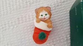 "1989 HALLMARK HANDCRAFTED ORNAMENT ""STOCKING KITTEN"" FLOCKED STOCKING 2.5"" - $4.94"