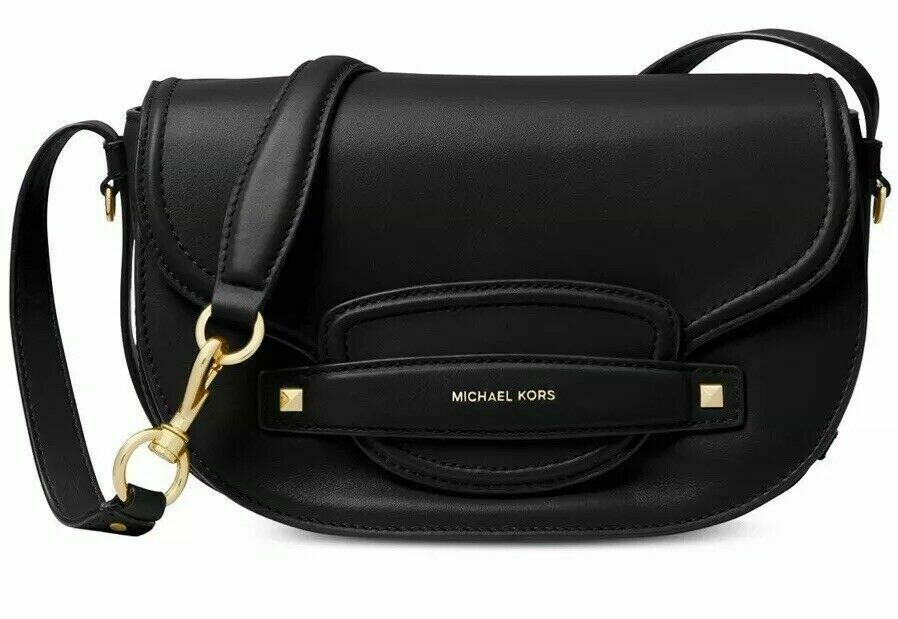 dd851ff89e84 Michael Kors Cary Leather Saddle Crossbody Handbag - Black #146 - $94.99