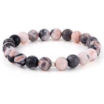 Pink Zebra Jasper Smooth Round Beaded Gemstone Handmade Stretch Bracelet Gift. - $20.99