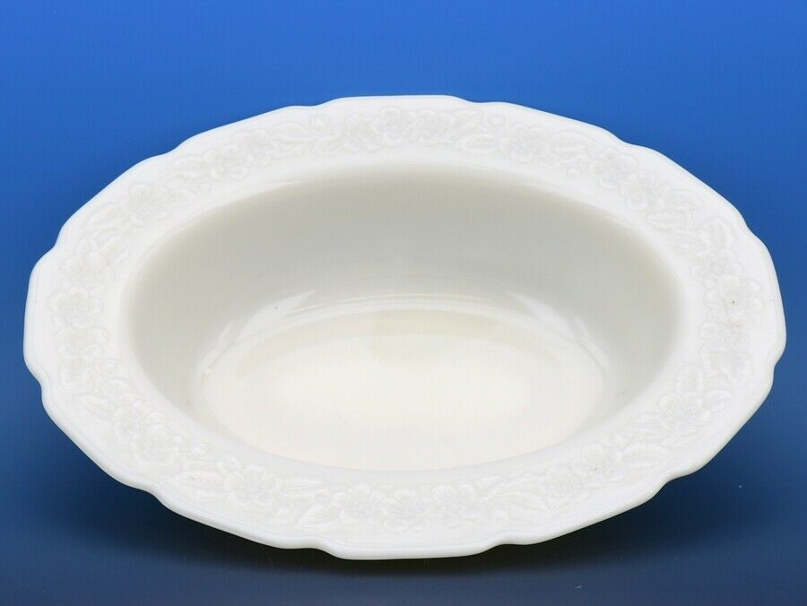 "Indiana Custard Depression Glass Flower Leaf Band Bowl 9.5"" Oval Vegetable MINT"