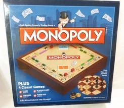 Monopoly Legno Solido Plus 4 Classico Tavola Gioco con Scacchi Dama Carte - $84.07