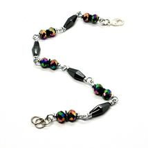 Bracelet the Aluminium Long 19 Inch with Hematite and Crystal Colorful image 5