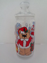 Clear Glass Christmas Canister Candy Jar Teddy Bear Candy Jar - $9.46