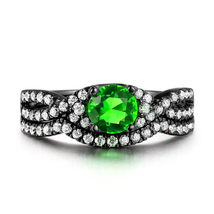 Sterling Silver 925 Emerald & Simulated Diamond Bridal Engagement Ring Set  - $99.99