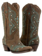 womens brown vintage western leather cowboy cowgirl boots rhinestones rodeo - €82,25 EUR