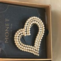 Estate Monet Large Faux Pearl & Clear Rhinestone Open Swoosh Heart Goldtone Broo - $17.62