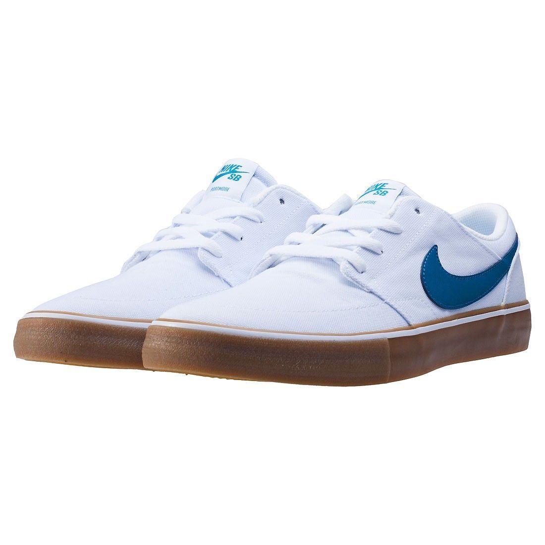 Nike SB Portmore II Solar CNVS Canvas White/Blue Mens Skate Shoes 880268-149 image 4