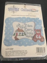 "Counted Cross Stitch W Painted Wood Frame ""happy Home"" Kit Gallery Of Stitches - $2.27"