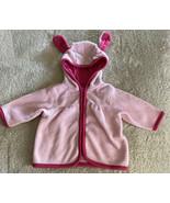 Childrens Place Girls Pink Hooded Bunny Ear Fleece Jacket Full Zip 0-3 M... - $6.43