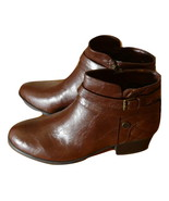Liz Claiborne Posh Ankle Booties Size 8.5 Medium Cognac Zippered Side Bu... - $78.00