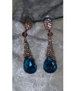 Blue rhinestone sea blue gold tone dagle earrings new clear  - $16.50