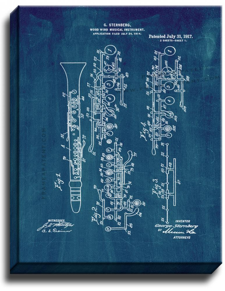 Primary image for Wood Wind Musical Instrument Patent Print Midnight Blue on Canvas