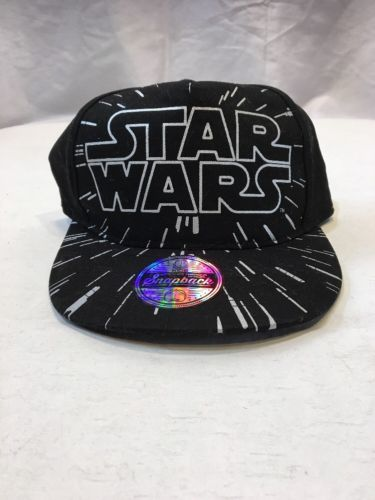 *Kids' Star Wars Flat Top Baseball Hat - Black One Size Galaxy Light Speed