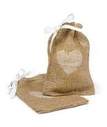 Rustic Country Western Burlap Heart Bridal Wedding Anniversary Favor Bags - €75,85 EUR+