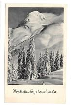 RPPC 1953 German New Years Real Photo Postcard Neuen Jahr Snowy Mountain Trees - $4.99