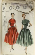 Vtg 1953 Sewing Pattern Vogue #8133 Huge Skirt Party Gown Ruched Sleeves... - $25.48