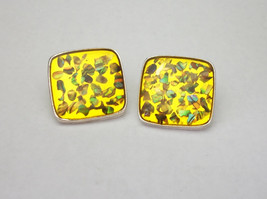 Vintage Confetti Lucite Clip on Earrings Golden Yellow with Abalone Shell - $18.00