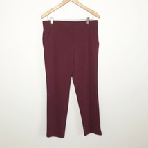 New York & Co Ladies Size 8 Burgundy Solid Formal Career Elastic-Waist P... - $10.88