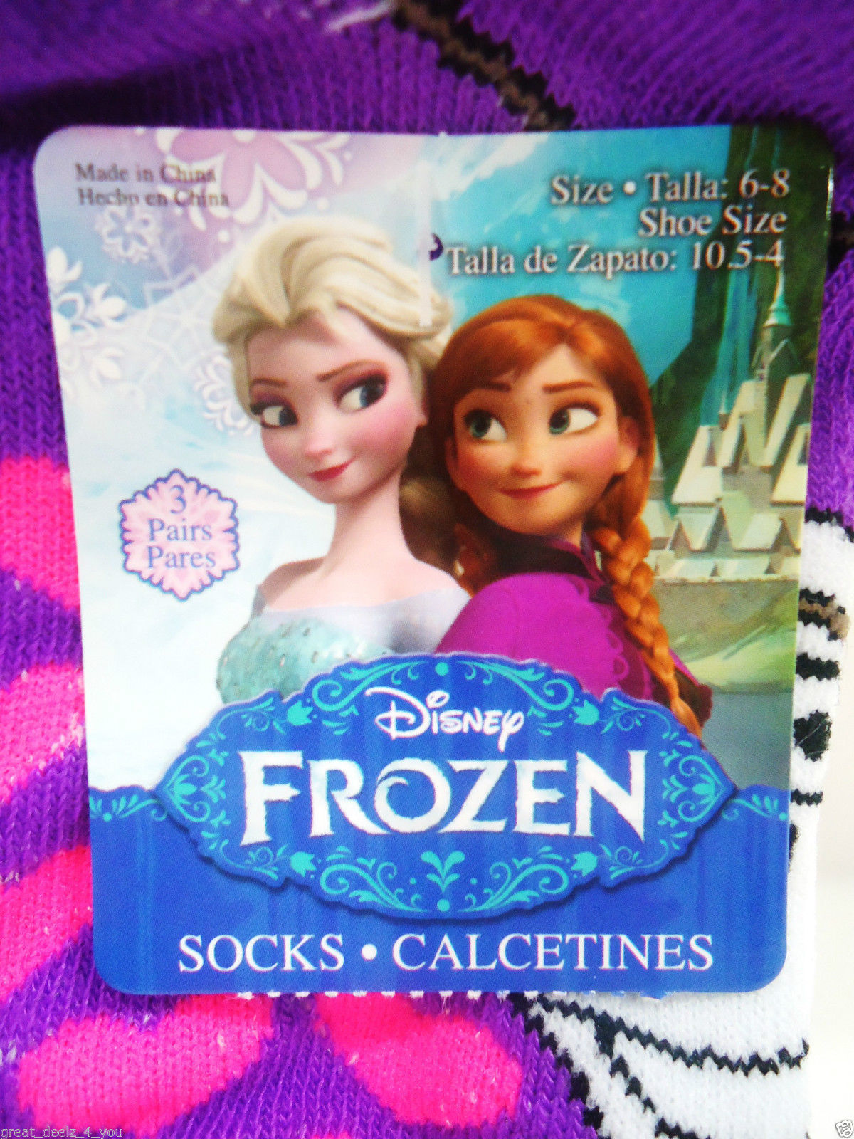 DISNEY - FROZEN - GIRL'S - (3) PACK - SOCKS - PURPLE - PINK - AQUA - BRAND NEW image 4