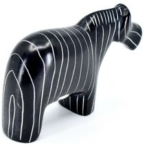 SMOLart Hand Carved Kisii Soapstone Black Pinstripe Zebra Sculpture Figurine image 4