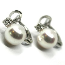 SOLID 18K WHITE GOLD CLIPS EARRINGS, SALTWATER AKOYA PEARLS 8.5/9 MM, DIAMONDS image 1