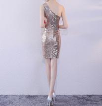 Rose Gold One Shoulder Short Sequin Dress Wedding Bridesmaid Short Sequin Dress image 6