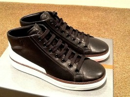 NEW PRADA CALZATURE BLACK LEATHER MID-TOP SNEAKER TRAINER SHOES US 10.5/... - $395.99