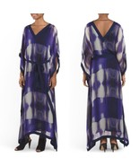 Halston Violet Poncho Sleeve Long Gown Evening Silk Dress Sizes 2 4 BNWT - $249.73
