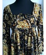 Gayle Kirkpatrick Velvet Dress Dark Blue Gold Empire Waist Size 8/10 Vin... - $218.30