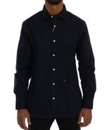 Moschino Blue Cotton Stretch Slim Fit Dress Shirt - $98.61