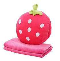Unique Strawberry Soft Blanket and Pillow Set Cute Doll - $37.77