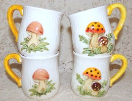 Vintage Mushroom Mugs w/Stand Ceramic Set of 4 1970's - $19.99
