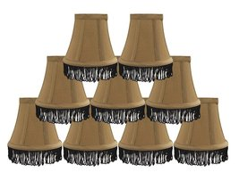Urbanest Set of 9 Gold with Black Fringe Silk Bell Chandelier Lamp Shade, 3-inch - $49.49