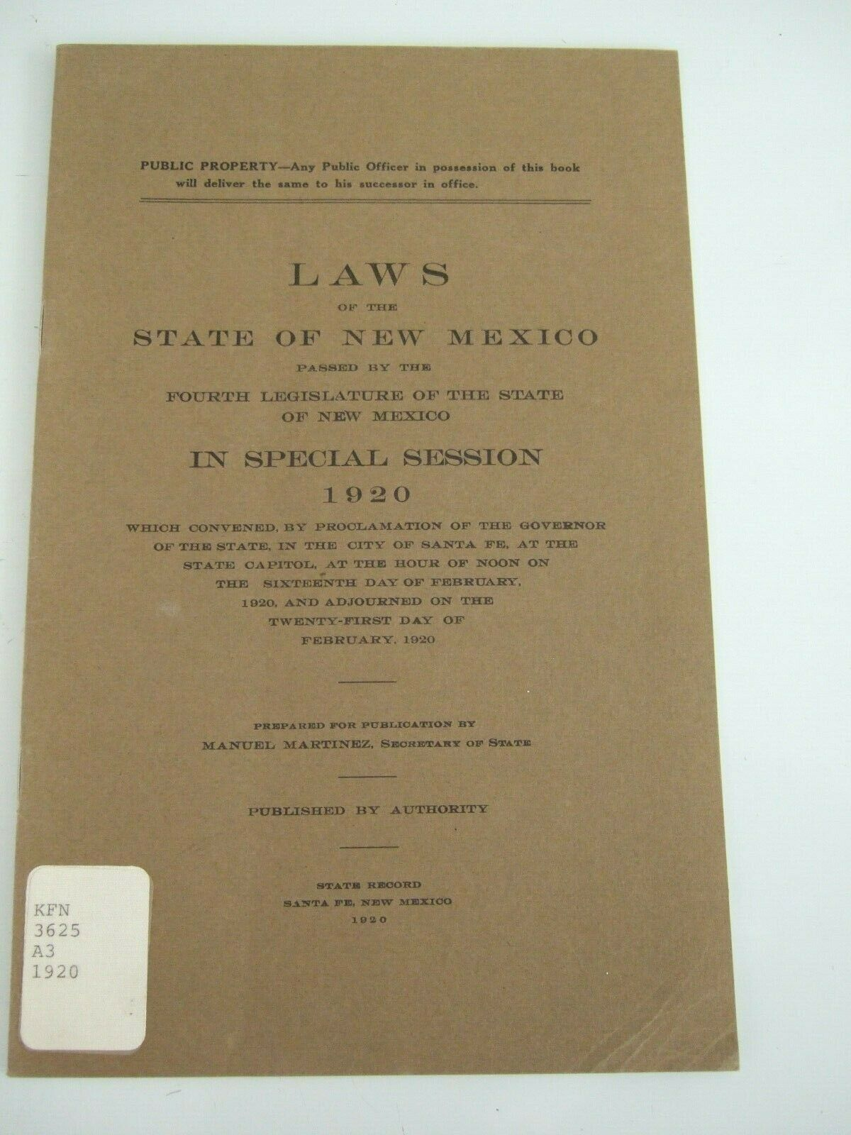 Primary image for RARE 1920 LAWS OF THE  STATE OF NEW MEXICO FOURTH LEGISLATURE SPECIAL SESSION